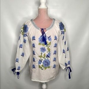 Durga Ukrainian style embroidered cotton blouse.